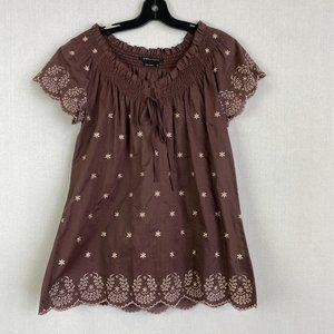 BCBGMAXAZRIA 100% Cotton Boho Floral Embroidery De